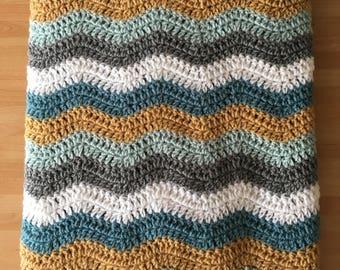 Handmade Crochet ripple stitch blanket