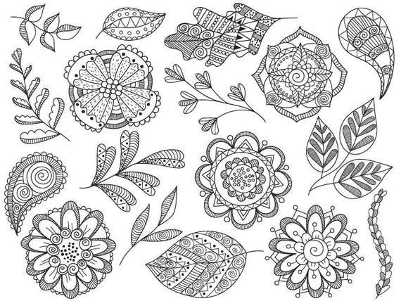 Doodle Flowers Clip Art - Vector Floral Clipart, Flowers Clipart ...