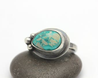 Turquoise Ring, Turquoise & Sterling Silver Ring, Small Boho Ring, Size 4.5