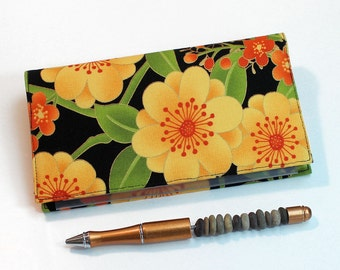 Jubilee Checkbook Cover for Duplicate Checks with Pen Holder, Gold and Orange Floral Check Book Covers with Cotton Fabric