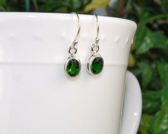 Chrome Diopside Earrings, Vivid Green, Natural Green Gem, Sterling Silver, Russian Diopside, Green Diopside, Oval Chrome Diopside