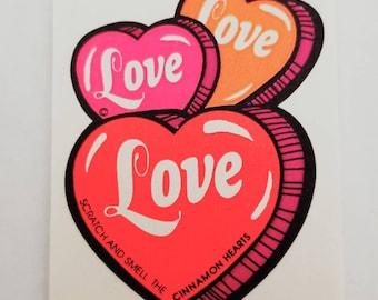 Vtg Scratch and Sniff Sticker Cinnamon Hearts Mello Smello vintage love 80's