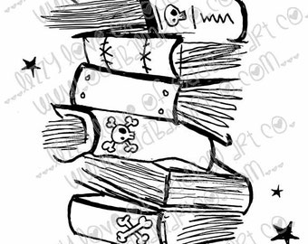 Digi Stamp Instant Download Oddball Stamps Elements - Spooky Book Stack No. 199 by Lizzy Love