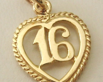Genuine SOLID 9ct YELLOW GOLD 16 th birthday charm pendant