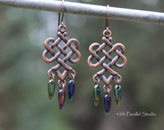 Celtic Knot Earrings, Celtic Jewelry, Irish Earrings, Irish Jewelry, Rustic Earrings, Copper Earring, Copper Jewelry, Celtic Earring, Celtic