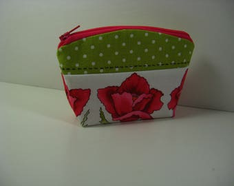 Pink and Green Coin Purse, Change Purse, Card Holder, Jewelry Holder, Zipper Pouch, Gift for Her, READY TO SHIP