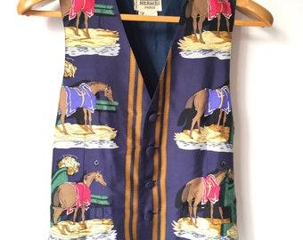 HERMÈS 100% SILK Men's VEST - Equestrian Riding Horse Paris Vintage Size 46
