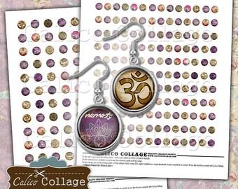 Zen Digital Collage Sheet, 10mm Circles, 12mm Circles, Yoga Collage Sheet, 10mm Collage Sheet, 12mm Collage Sheet, Instant Download