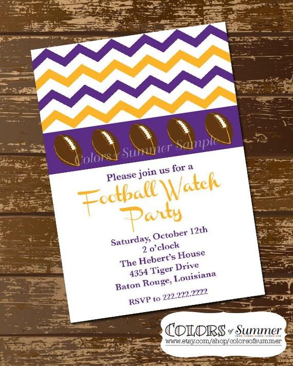 Purple and Gold football invitation Football Invite Chevron