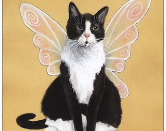 Towser is a Fairy: Tuxedo Cat With Fairy Wings - 5x7 Fine Art Print from Watercolor, Gift for Cat Lovers, Gifts for Mom
