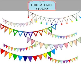 Rainbow Bunting Banner Clip Art, Flag Bunting Clipart, Birthday garland, Digital Files, for personal and commercial use