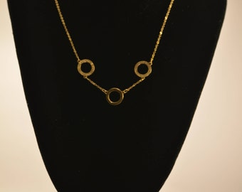 3 crystal circle silver Necklace