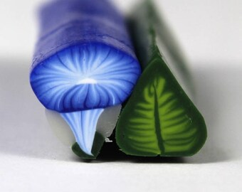 Raw Polymer Clay Morning Glory and Leaf Canes