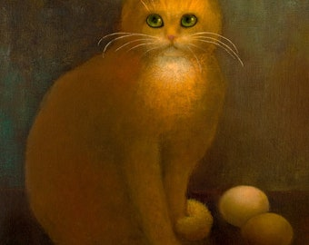 Cat with Eggs