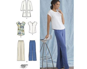 Simplicity Pattern 8393 Misses' and Plus Size Pants, Tunic or Top, and Knit Cardigan