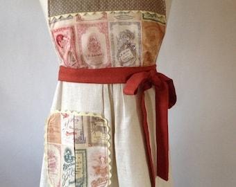 ON SALE Linen Apron, Beige, Neutral Colors, Retro Apron,  Handmade Apron, Stylish Apron