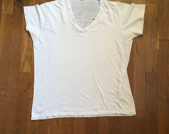 vintage 60s hanes white cotton v neck t shirt worn thin made in usa