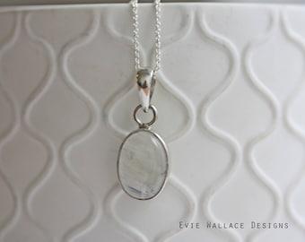 Moonstone Pendant / Rainbow Moonstone / Oval Necklace / Dainty / Minimalist Jewellery / Natural Stone / April Birthstone / Sterling Silver