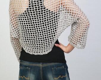 Hand crochet woman shrug little cardigan grey top