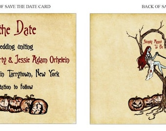 Save the Date Cards - Vintage Fall Autumn Halloween Spooky Burton Style Wedding or Event