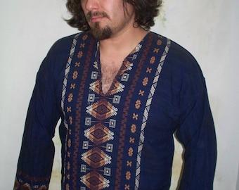 Rare 1970s vintage woven Guatemala tunic caftan dashiki / boho festival V neck top fits like a M / L