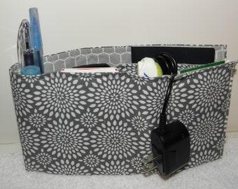 Purse Insert, Flat Organizer Insert, Small Bag Insert, Handbag Organizer,7 Pockets, Velcro Closure + Earbud/Cable Organizer Gray/White Print