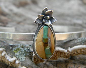 Royston Ribbon Turquoise and Sterling Silver Succulent Cuff Bracelet