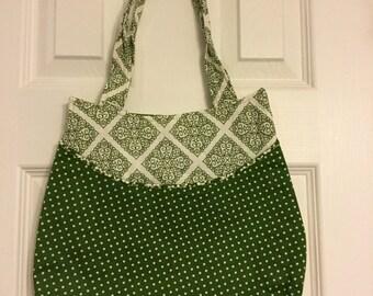 CLEARANCE Green Polka Dot Purse, Celtic Inspired Purse, Green Purse, Green Polka Dot, Purse for Mom, Fabric Purse