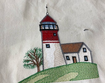 New Kitchen Tea Towel with AMERICAN Patriotic LIGHTHOUSE