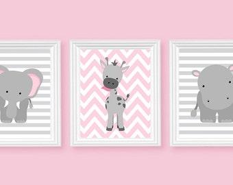 Zoo Nursery Art, Elephant Nursery Art, Pink and Grey, Baby Nursery Decor, Baby Room Decor, Girls Room Decor, Nursery Canvas Art, Jungle