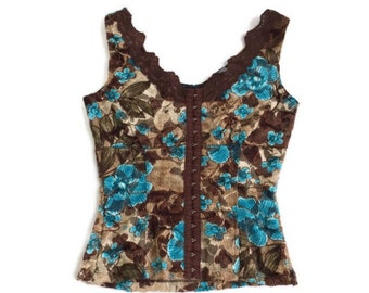90's Cyber Floral Lace Corset Bodice Top