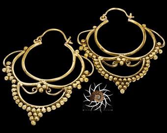 Brass Earrings - Brass Hoops - Gypsy Earrings - Tribal Earrings - Ethnic Earrings - Indian Earrings - Tribal Hoops - Indian Hoops (EB37)