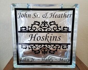 Custom Family Names Glass Block ~ Family Decor ~ Vinyl Decal ~ A great Family gift!