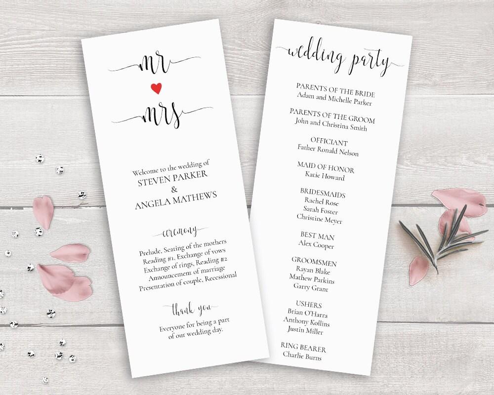 Hochzeit Programm Vorlage Herr und Frau Kalligraphie