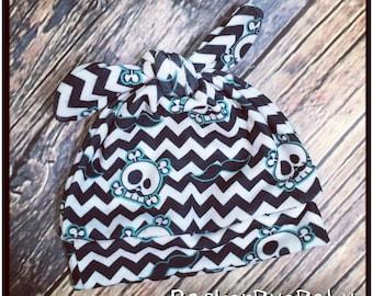 RockerByeBeanies mustache chevron Skulls and Bones Newborn Baby knit skull cap hat beanie White Black teal boy or girl EXCLUSIVE
