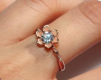 14k Rose gold Flower engagement ring, handmade leaf diamond ring, floral diamond Ring, solitaire diamond ring, half carat leaf diamond ring
