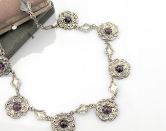 Antique Victorian Festoon Necklace Ornate Silverplate Link Repousse Flower Floral Purple Amethyst Glass