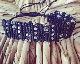 "Macrame bracelet- Black and Silver tones - Sparkly Unisex bracelet  ""Black Ice"""
