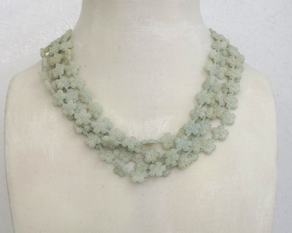 Vintage pale green sugar glass beads multi strand necklace, beads in shape of flowers, made in Hong Kong, circa 1950s