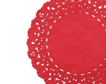 """TRUE RED Paper Lace Doilies   4"""" 5"""" 6"""" 8"""" 10"""" 12"""" 14"""" 16"""" Round Sizes   Red Doily, Red Wedding Doilies, Red Chargers, Red Placemats"""