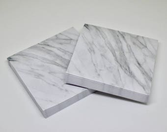 Grey Marble Square Sticky Notes