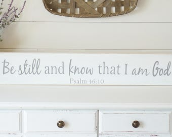 Be still and know that I am God Psalm 46:10 Scripture Vintage Style Religious Wooden Sign Inspirational Christian Bible Verse Hand painted