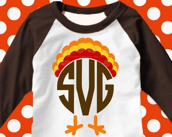 Turkey monogram svg, Thanksgiving svg, turkey svg, SVG, DXF, EPS, turkey shirt, cutter files, dxf files, funny svg, shorts and lemons, png