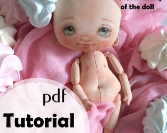 PDF Tutorial How to make fabric  doll Step by step 50+ photos + Pattern
