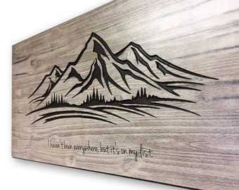 Mountain Wall Art, Wood Carved Wall Art, Mountain decor, mountain range wall hanging, rustic, distressed, Travel Decor, wedding guestbook