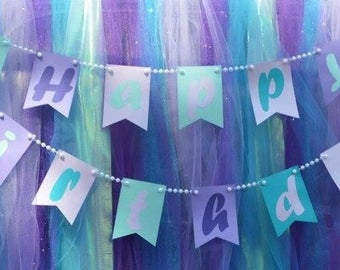 Happy Birthday Banner / Mermaid / Teal Purple Gold Banner