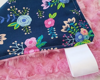 Baby Girl Blanket. Minky Baby Blanket. Mini Lovey. Mini Blanket. Pink Rose Minky with Navy Floral. Baby Girl Minky Blanket. Rolled Roses.