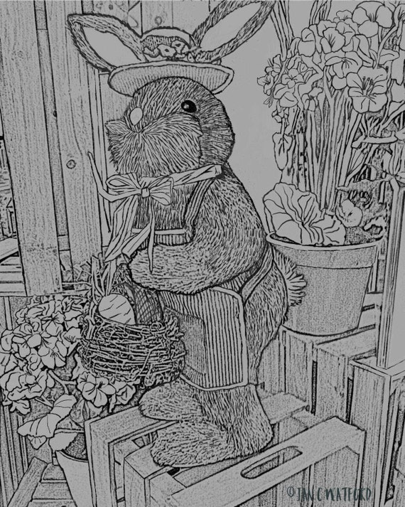 Easter Bunny. Adult Coloring Pages Gray Scale Printable