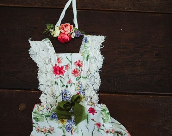 Spring floral and lace romper set.  Sitter.