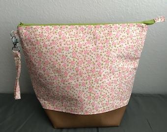 Grandmothers Garden - Knitting project bag, Crochet bag, Makeup bag, Toiletries bag, Travel bag.
